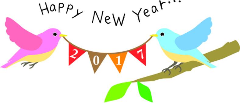 Bird's flag New Year's card material