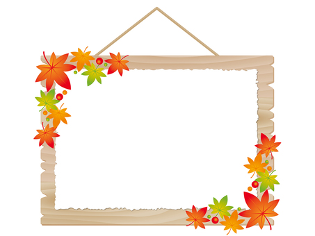 Bulletin board frame with colored leaves and wood