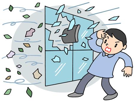 強風による窓ガラス破損.1