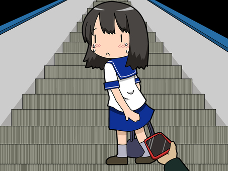 Female student voyeur on escalator