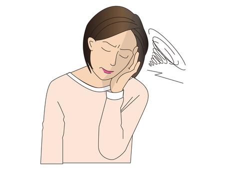 A woman suffering from a headache
