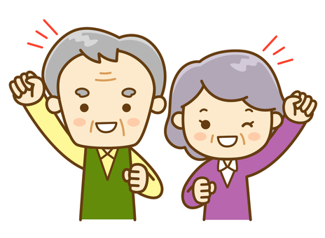 Energetic senior men and women