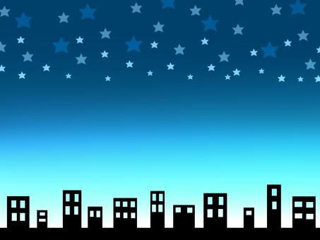 Urban emerald green night sky