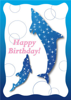 Dolphin Star Birthday Card 01