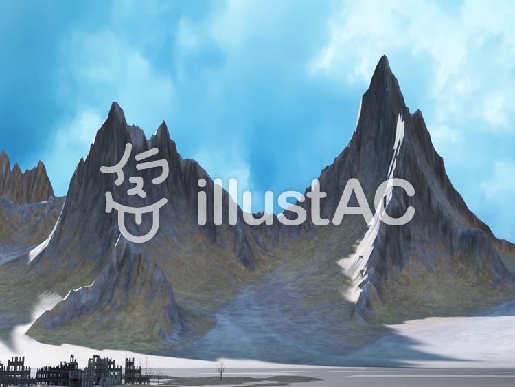 巨大山脈と壊れた街のイラスト