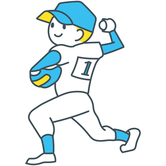 Baseball boy throwing a blue yellow white ball