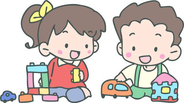 孩子們在玩玩具