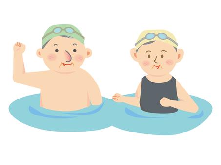Health making in the pool Elderly people