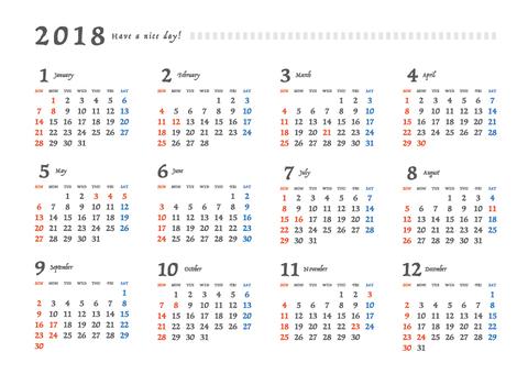 2018 calendar _ A 4 yoko