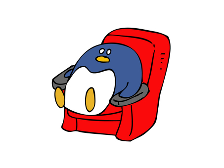 Penguin sitting on red chair