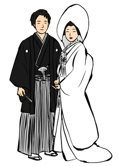 Japanese dress wedding bride and groom