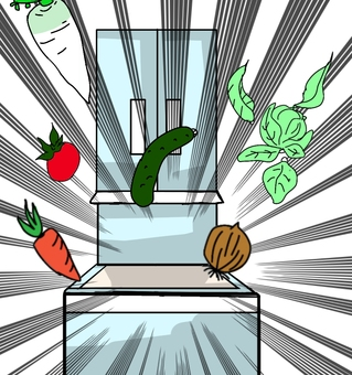 Illustration of vegetables jumping out of the vegetable room