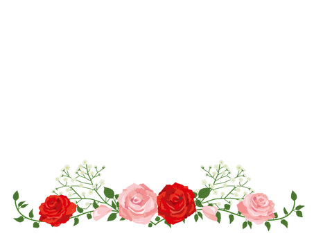 Red and pink rose garland decoration card 02