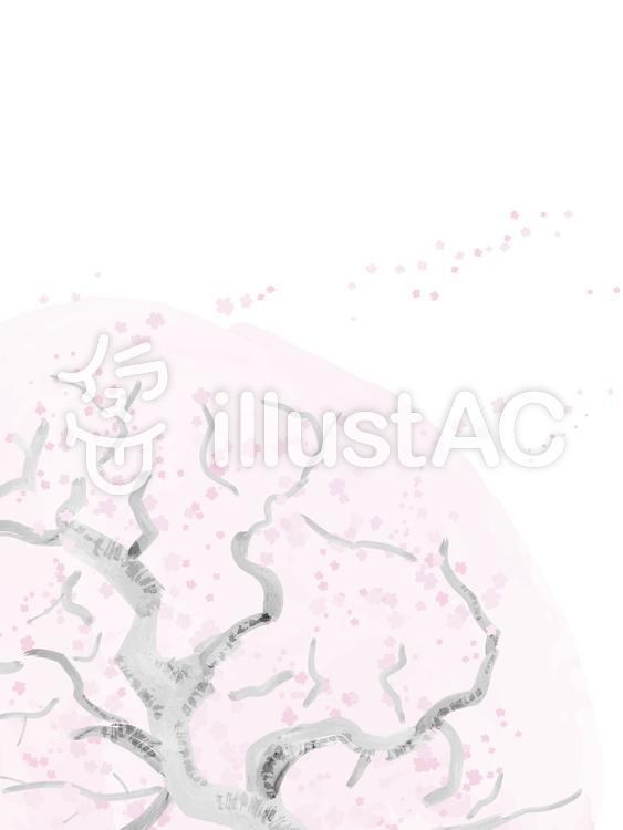 水彩タッチの桜の木2