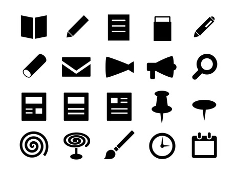 Stationery, office and business icon set
