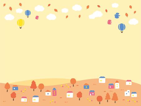 家 木 花 空 雲 気球 山 鳥の町並み