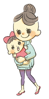 【Transparent PNG】 Mom and child