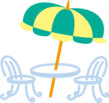 Simple clipping style umbrella and table