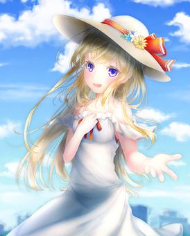 One piece girl (blue sky)