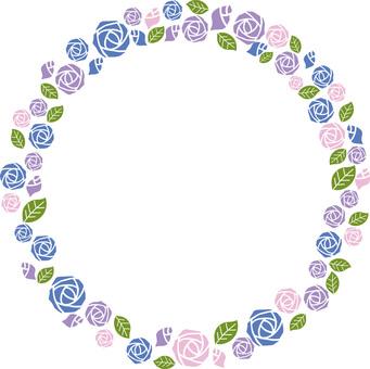 Round frame of roses