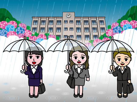 Rainy day (55) Junior college students and hydrangeas
