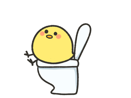 Cute chick sitting in the toilet