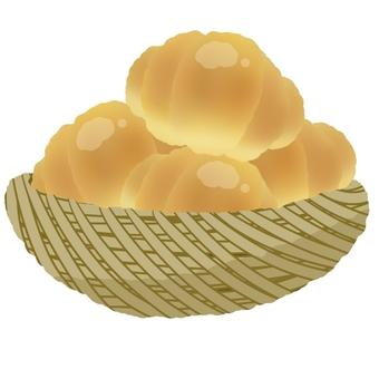 Roll bread in the basket