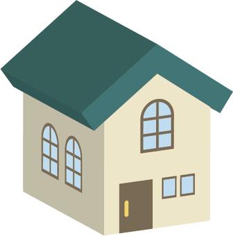 Greenish three-dimensional house