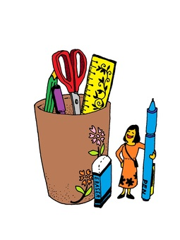 Stationery and one-piece women / png version transparent background
