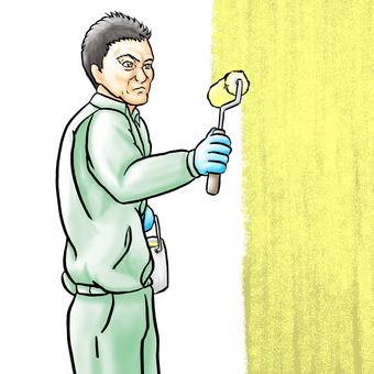 Painting craftsman, yellow paint