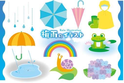 Illustration set of the rainy season
