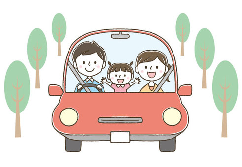 Cute family driving out / hand drawing