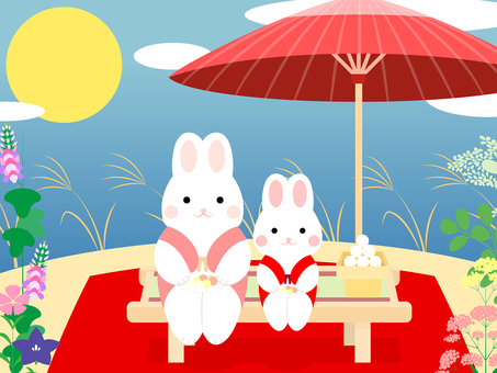 Parent-child rabbit · autumn novice · cute background of the moon view