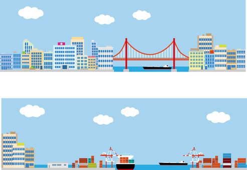 Background seaside city harbor