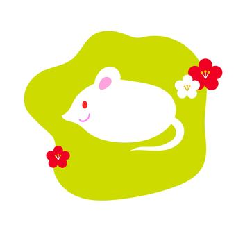 쥐와 매화 연두색