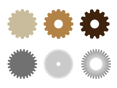 Cogwheel colorful illustration set