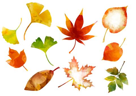 秋に使えるかもしれない背景素材 水彩落葉