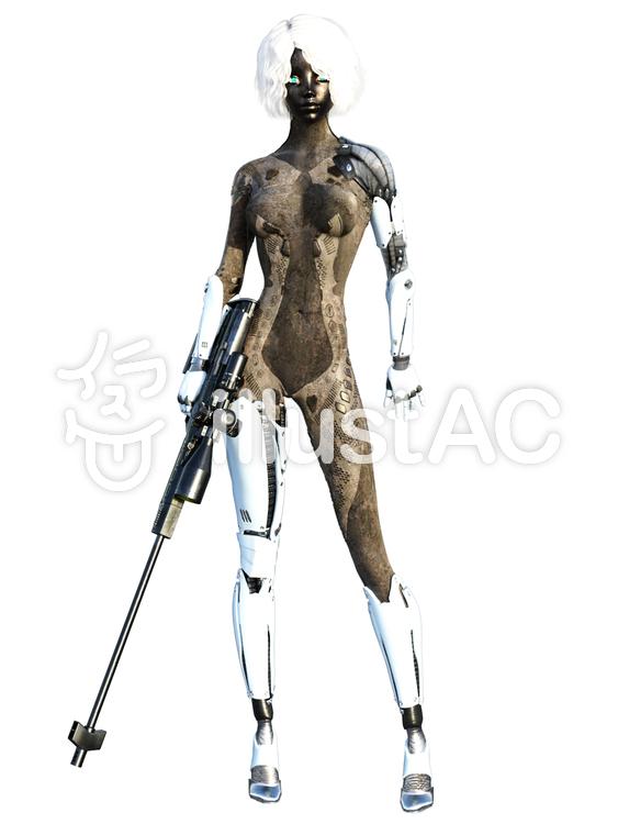 アンドロイドの狙撃手のイラスト