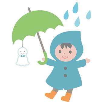 Raincoat boy <brother with umbrella>