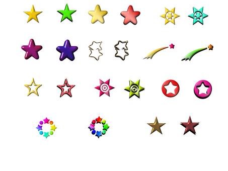 Assortment of little three-dimensional stars