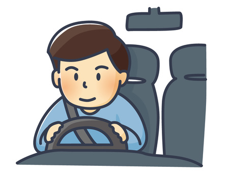 Illustration of a man driving a car