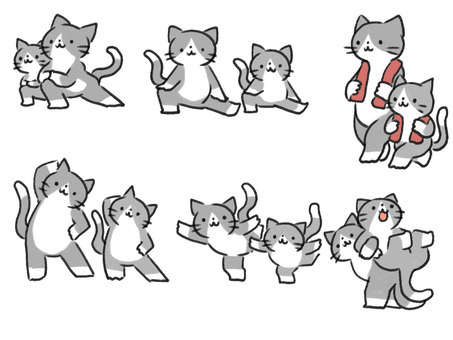 Cat parents and children doing warm-up exercises