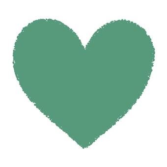 Hand-painted heart _ Betta _ green