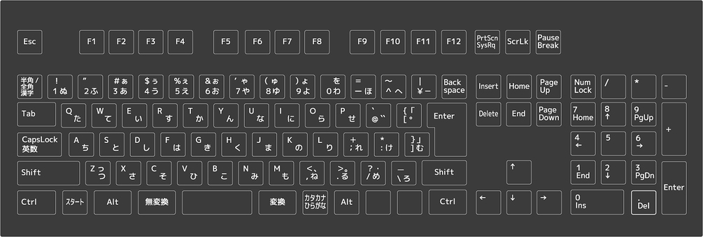 Desktop computer keyboard figure black