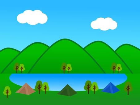 Mountain, lake and tent