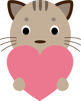 A cat with a heart