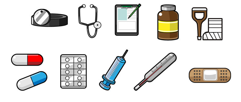10 medical item icons