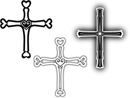 白黒十字架・ぼかし