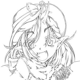 Kashima Maehi, full smile (line drawing)