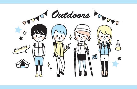 Mountaineering outdoor illustration set